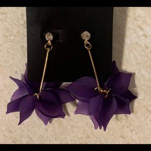 Lovely Purple with faux diamond stud earrings!💜💜